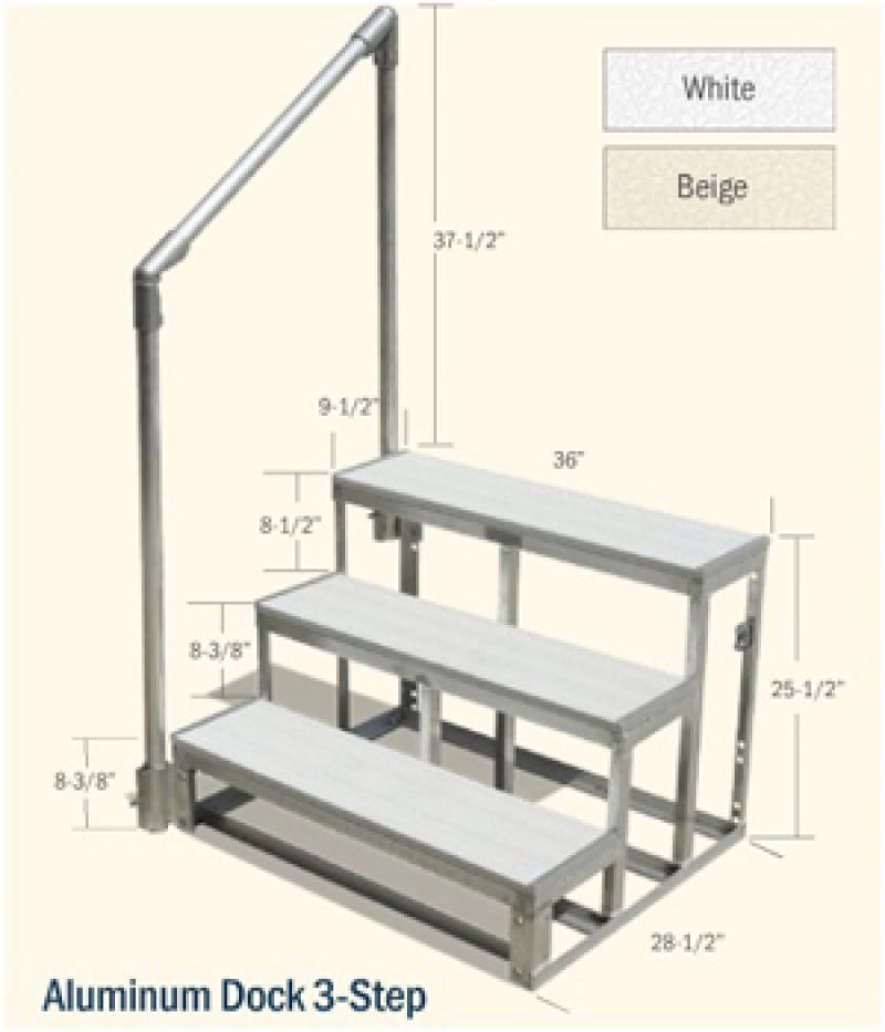 G Amp H Marine Aluminum Dock 3 Step W Railing Beige